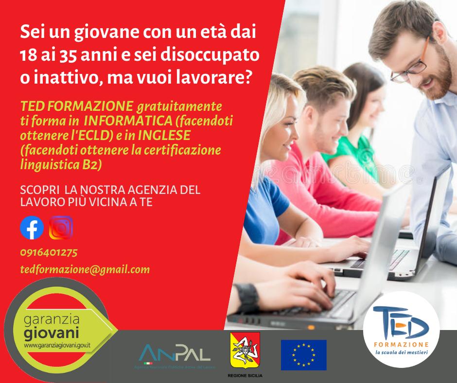 tirocini di Garanzia Giovani, ted formazione professionale, formazione in lingue e informatica